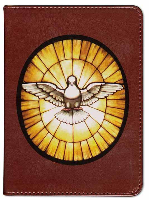 Personalized Catholic Bible with Stained Glass Dove Cover - Burgundy RSVCE