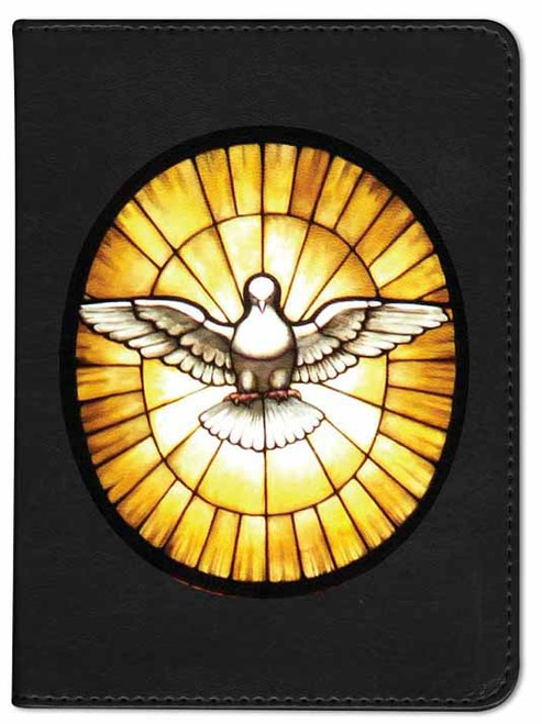 Personalized Catholic Bible with Stained Glass Dove Cover - Black RSVCE