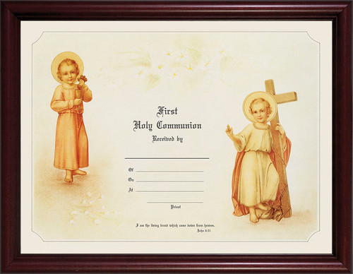 First Communion - Cherry Framed Certificate
