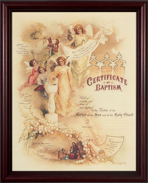 Certificate of Baptism II Cherry Framed
