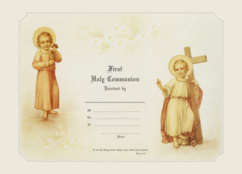 Traditional First Communion Sacrament Certificate with Christ Child Unframed