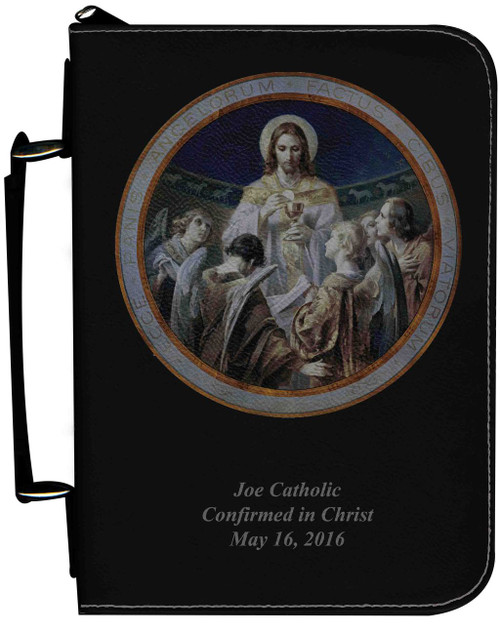 Personalized Bible Cover with Christ, Bread of Angels Graphic - Black