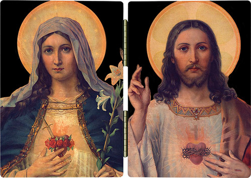 Antique Sacred & Immaculate Hearts Diptych