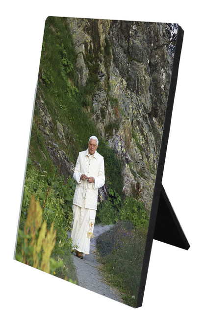 Pope Benedict in Mountains Vertical Desk Plaque