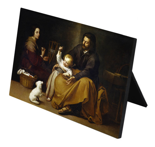 Holy Family with Small Bird by Murillo Horizontal Desk Plaque