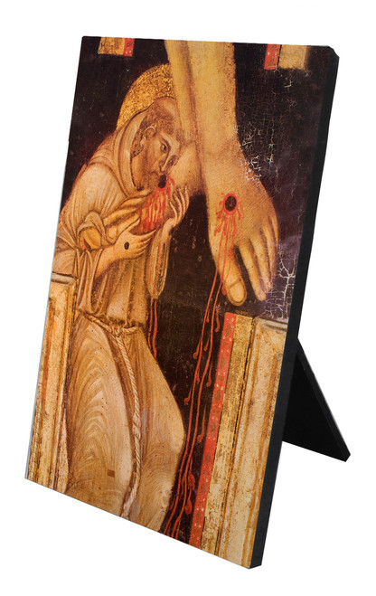 St. Francis Kissing the Feet of Christ Vertical Desk Plaque
