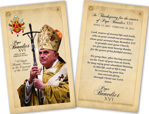 Pope Benedict XVI Commemorative Laminated Holy Card