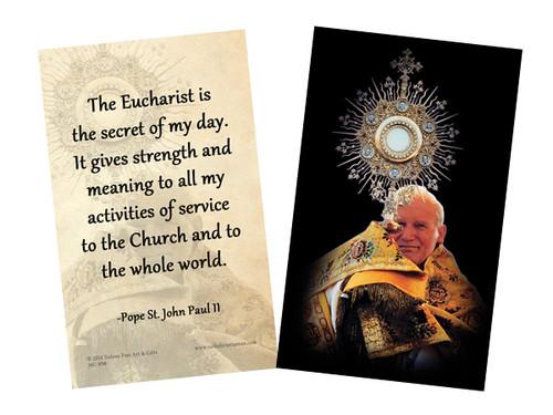 St. John Paul II with Monstrance Holy Card
