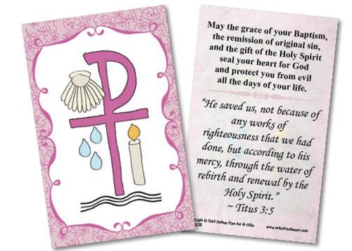 Baptismal Symbols Pink Holy Card