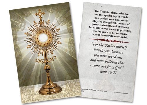 Eucharist Final Vows Holy Card