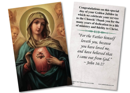 Immaculate Heart Golden Jubilee Holy Card