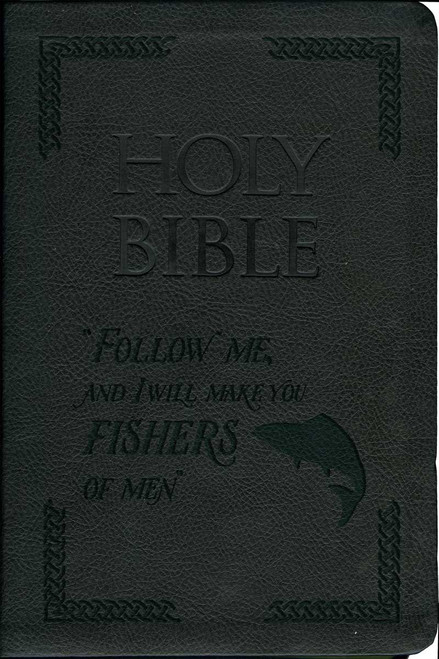 Laser Embossed Catholic Bible with Fishing Cover - Black NABRE
