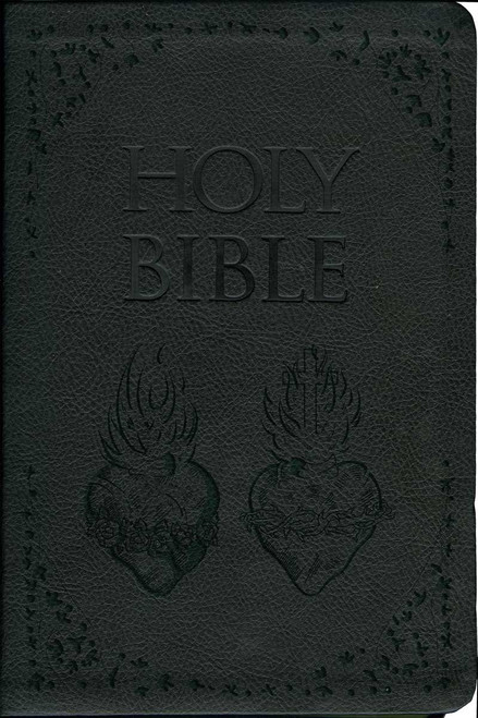 Laser Embossed Catholic Bible with Sacred and Immaculate Hearts Cover - Black NABRE