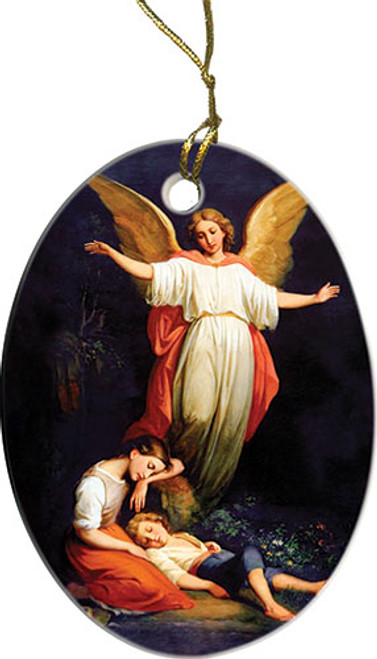 Guardian Angel with Children Resting Ornament