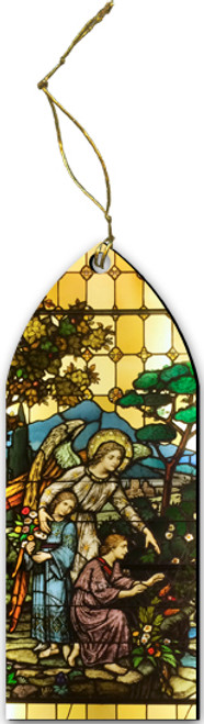 Guardian Angel Stained Glass Wood Ornament