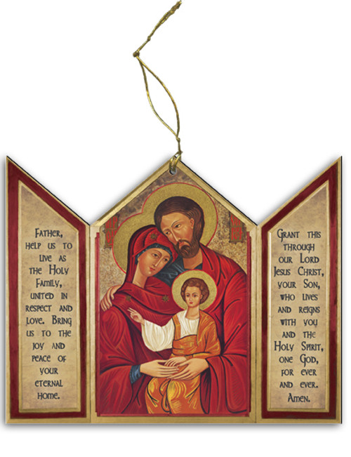 Holy Family Icon Triptych Wood Ornament