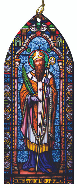 St. Adalbert Stained Glass Wood Ornament