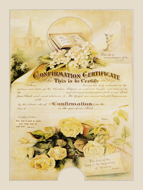 Traditional Confirmation Sacrament Certificate with Roses Unframed