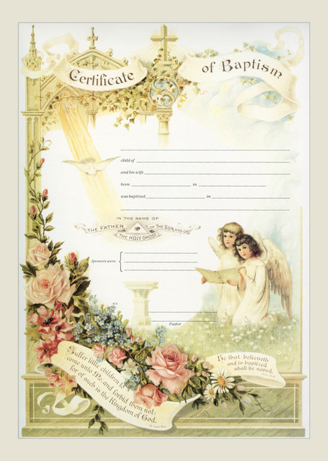 Traditional Baptism Sacrament Certificate with Angels Unframed