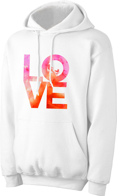Love with Baby Watercolor on White Pro-Life Hoodie