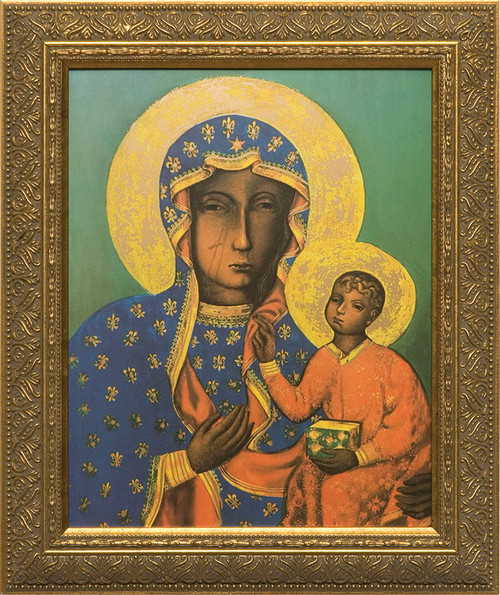 Our Lady of Czestochowa - Gold Framed Canvas