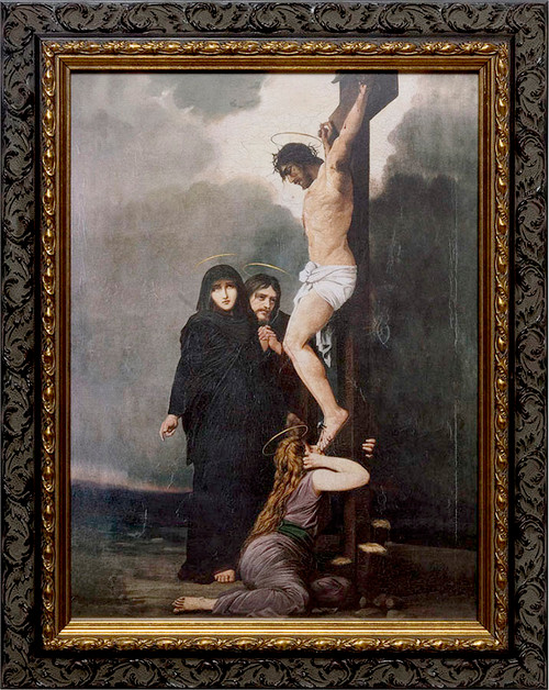 Crucifixion of our Lord - Ornate Dark Framed Canvas