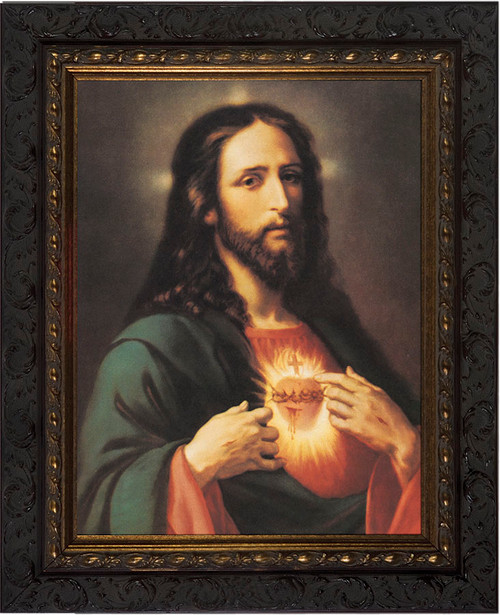 Sacred Heart of Jesus - Dark Ornate Framed Canvas