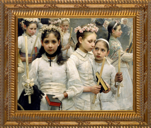 After the First Holy Communion (Detail 3 Girls) - Ornate Gold Framed Canvas
