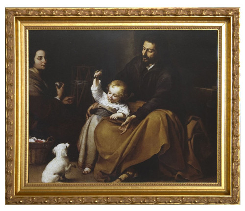Holy Family with Small Bird by Murillo - Ornate Gold Framed Canvas