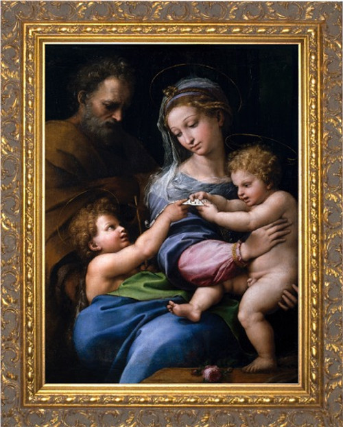 Madonna della Rosa - Ornate Gold Framed Canvas