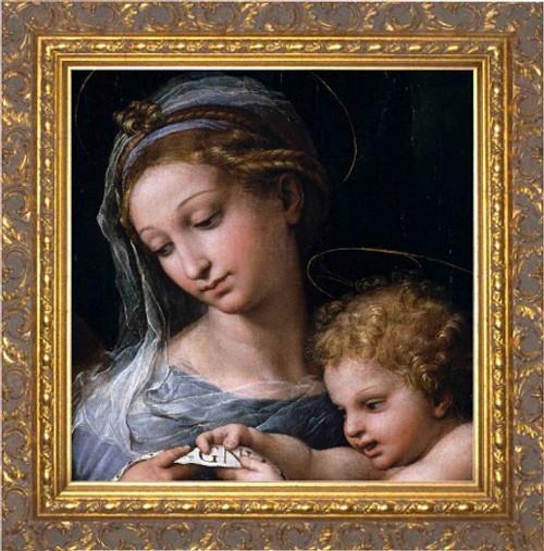 Madonna della Rosa (Detail) - Ornate Gold Framed Canvas