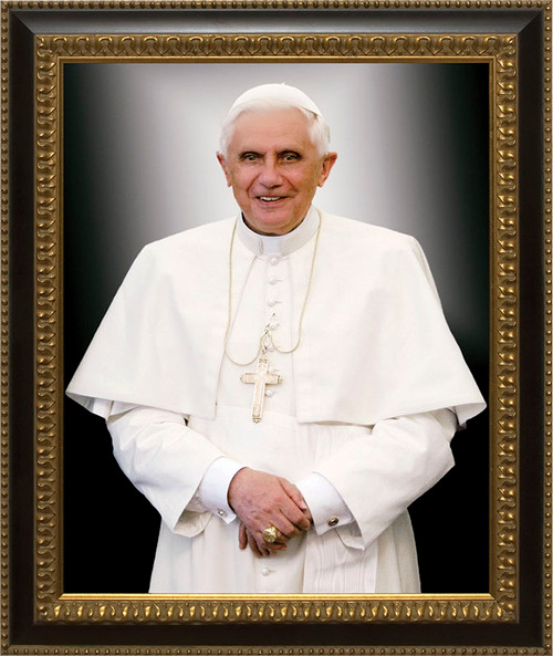 Pope Benedict Formal - Ornate Dark Framed Canvas