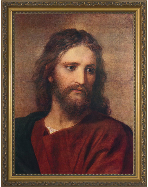 Christ at 33 by Hoffman - Gold Framed Canvas