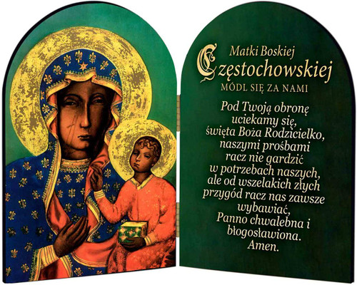 Polish Our Lady of Czestochowa Arched Diptych