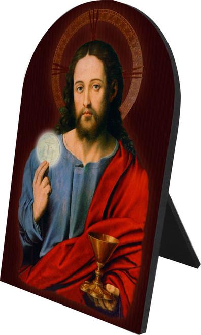 Christ Holding Eucharist Arched Desk Plaque