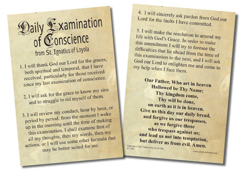 Examination of Conscience Faith Explained Card