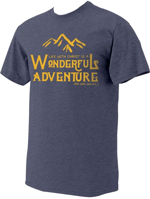 """Wonderful Adventure"" Pope Saint John Paul II Heather Navy T-Shirt"
