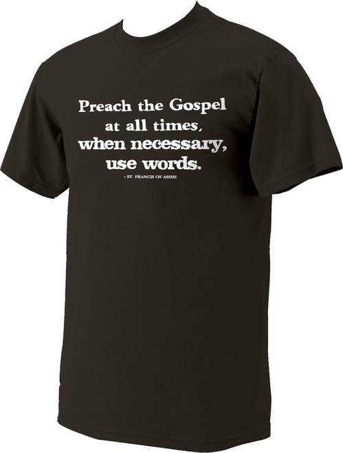 """Preach the Gospel"" St. Francis of Assisi Dark Brown T-Shirt"