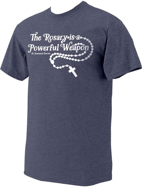 """""""The Rosary"""" St. Josemaria Escriva Heather Navy T-Shirt"""