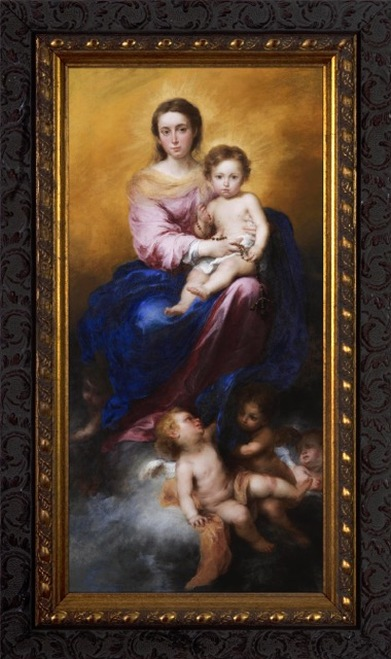 Madonna of the Rosary by Murillo - Dark Ornate Frame