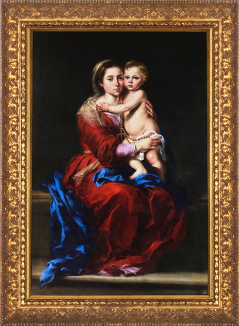 Virgin and Child with a Rosary by Murillo - Standard Gold Framed Art