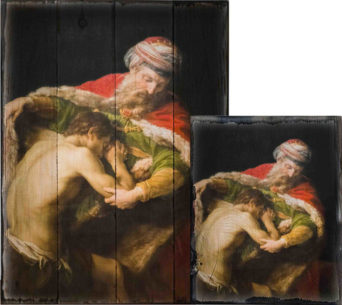 The Return of the Prodigal Son by Pompeo Batoni Rustic Wood Plaque