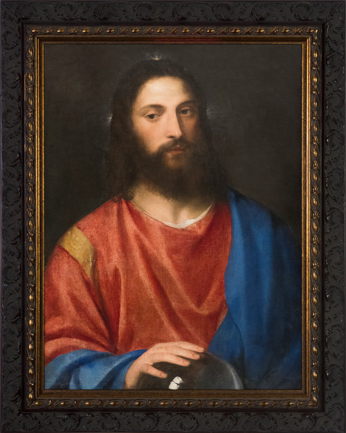 Christ with the Globe by Titian - Ornate Dark Framed Art