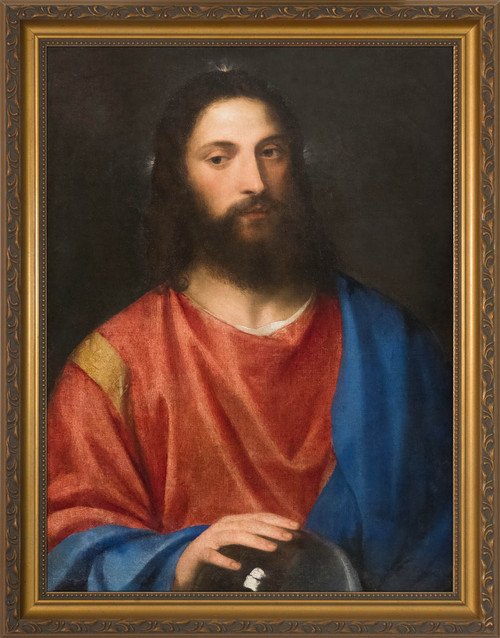 Christ with the Globe by Titian - Gold Framed Art