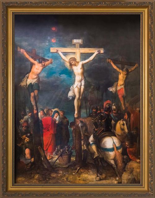 Crucifixion by Frans Francken - Gold Framed Art