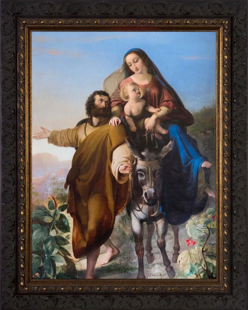 Flight into Egypt - Ornate Dark Framed Art