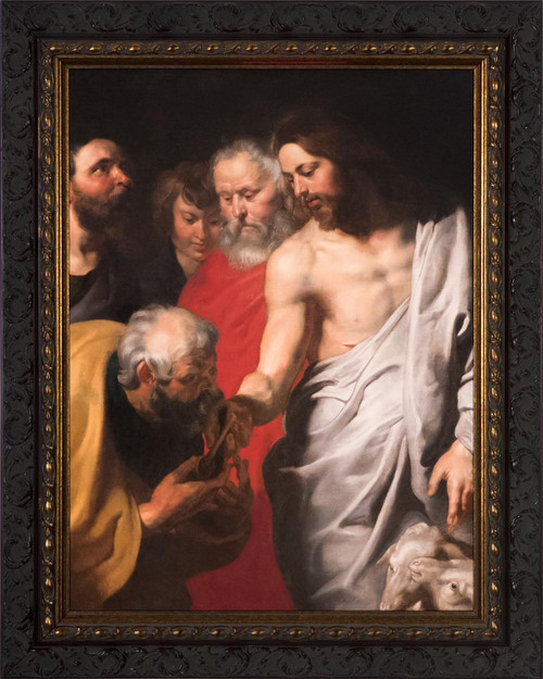 Christ Giving the Keys to St. Peter by Peter Paul Rubens - Ornate Dark Framed Art