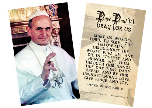 Pope Saint Paul VI Holy Card