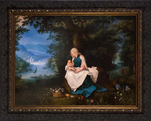 Rest on the Flight into Egypt by Jan Brueghel - Ornate Dark Framed Art