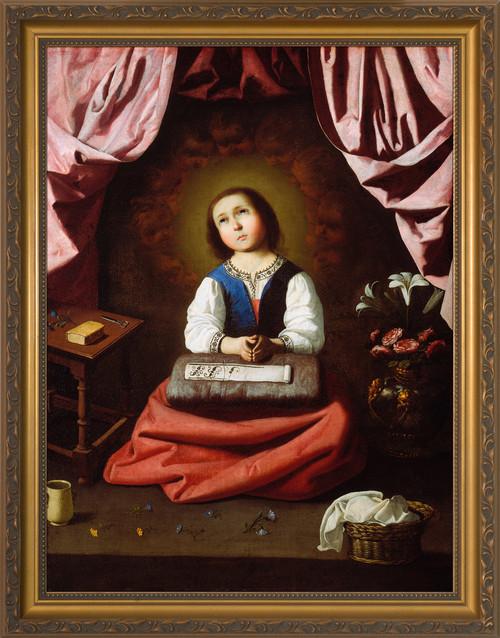 The Young Virgin by Francisco de Zurbarán - Gold Framed Art